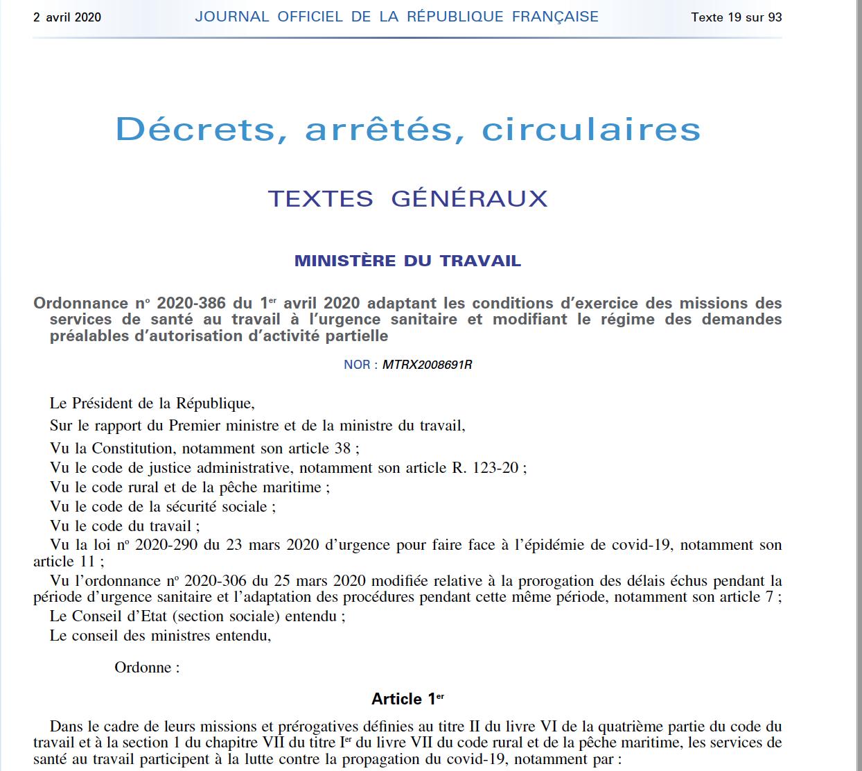 Ordonnance No 2020-386 Du 1er Avril 2020 SST